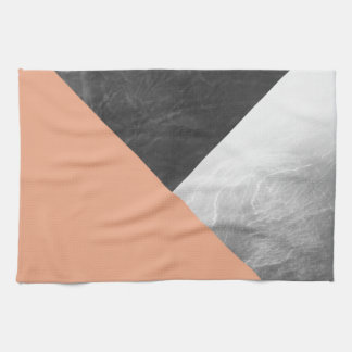 Coral Gray and White Geometric Triangles Kitchen Towel