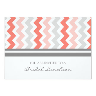 Coral Gray Chevron Bridal Lunch Invitation Cards