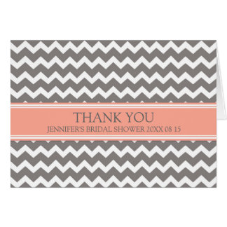 Coral Gray Chevron Bridal Shower Thank You Card