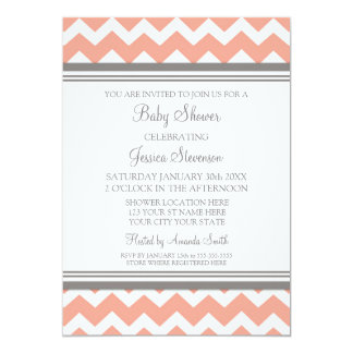 "Coral Gray Chevron Custom Baby Shower Invitations 5"" X 7"" Invitation Card"
