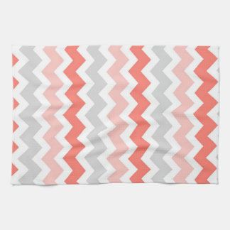 Coral Gray Chevron Kitchen Cloth Towel
