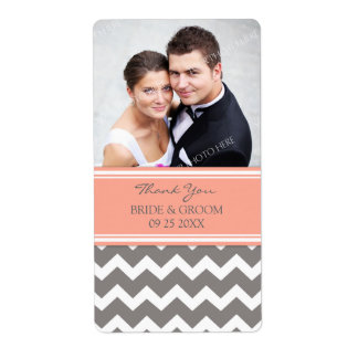 Coral Gray Chevron Photo Wedding Labels