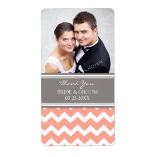Coral Gray Chevron Photo Wedding Labels