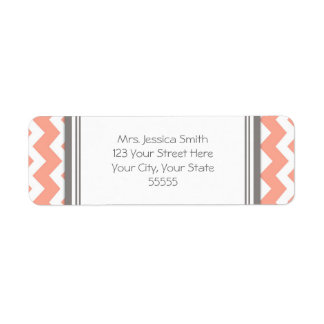 Coral Gray Chevrons Custom Return Address Labels