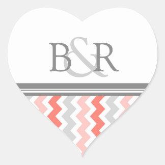 Coral Gray Chevrons Monogram Envelope Seal Heart Sticker