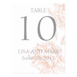 Coral Gray Floral Vintage Wedding Table Number Postcard