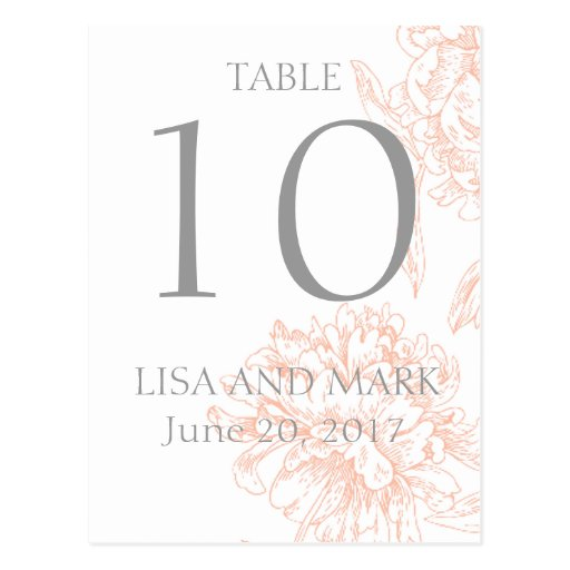 Coral Gray Floral Vintage Wedding Table Number Post Cards