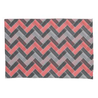 Coral Gray Herringbone Pillowcase