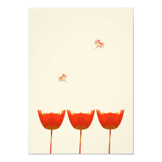 Coral & Gray Poppies  Butterfly Wedding Invitation