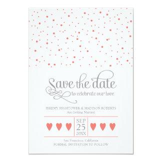 "Coral & Gray Save The Date Sweet Confetti 5"" X 7"" Invitation Card"