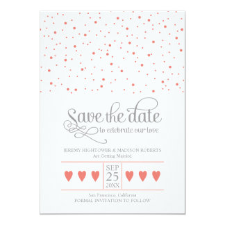 Coral & Gray Save The Date Sweet Confetti Card