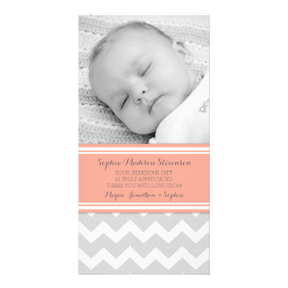 Coral Gray Thank You Baby Shower Photo Cards