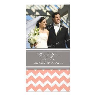 Coral Gray Thank You Wedding Photo Cards