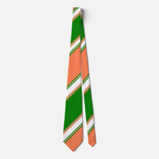 Coral Green and Ivory Alternating Striped Tie