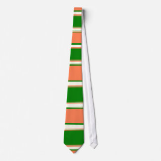 Coral Green and Ivory Horizontally-Striped Tie