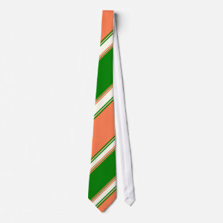 Coral Green and Ivory University Stripe Tie