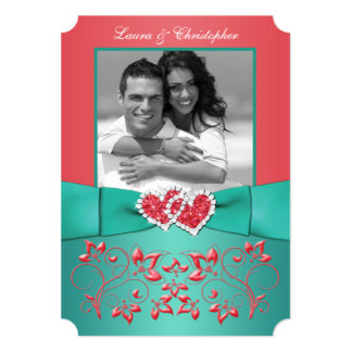 Coral, Green Floral Joined Hearts PHOTO Invitation