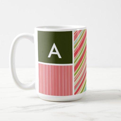 Coral & Green Stripes; Striped Mug