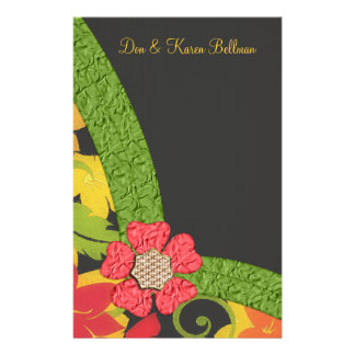 Coral Green & Yellow Flowering Garden Personalized Stationery Paper