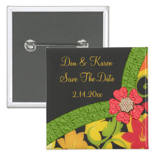 Coral Green & Yellow Flowering Garden Save Date 2 Inch Square Button