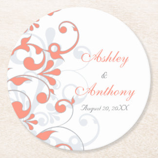 Coral Grey Abstract Floral Personalized Wedding Round Paper Coaster