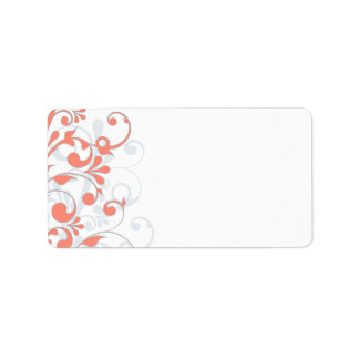 Coral Grey Abstract Floral Wedding Blank Address Label
