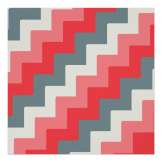 Coral, Grey, and White Block Chevron Zigzag Poster