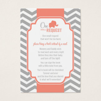 Coral Grey Chevron Baby Shower Book Request Card
