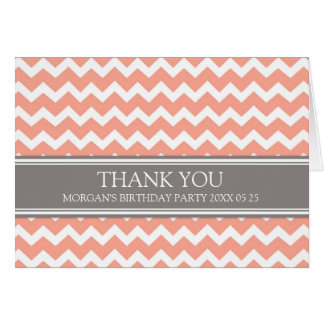 Coral Grey Chevron Birthday Party Thank You Card