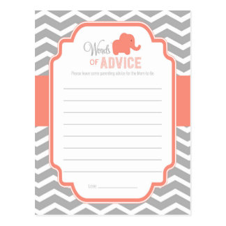 Coral Grey Chevron Elephant Baby Shower Advice Postcard