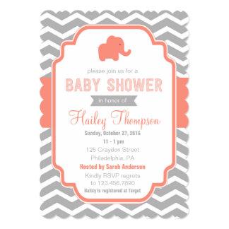 Coral  Grey Chevron  Elephant Baby Shower Invite