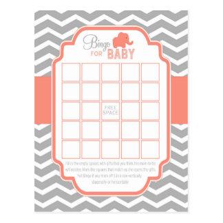 Coral Grey Chevron Elephant Bingo Baby Shower Game Postcard