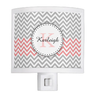 Coral Grey Chevron Nite Light