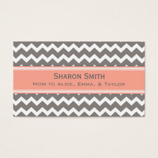Coral Grey Chevron Retro Mom Calling Cards