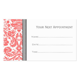 Coral Grey Damask Salon Appointment Cards Pack Of Standard Business Cards