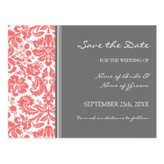 Coral Grey Damask Save the Date Wedding Postcard