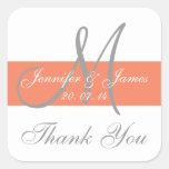 Coral Grey Monogram Wedding Thank You Stickers