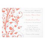 Coral, Grey, & White Floral Wedding Invitation