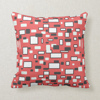 Coral grey white geometric pattern throw pillow