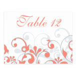 Coral, Grey, & White Wedding Table Cards Postcard
