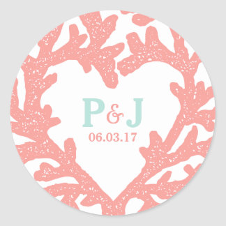 Coral Heart Aqua Beach Wedding Stickers