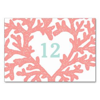 Coral Heart Aqua Beach Wedding Table Numbers Table Card