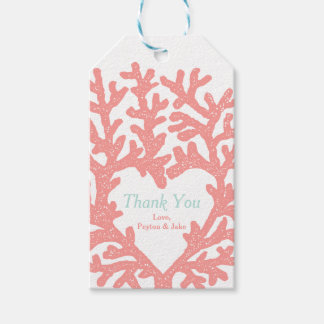 Coral Heart Aqua Beach Wedding Thank You Gift Tags