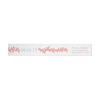 Coral Heart Aqua Beach Wedding Wrap Around Label