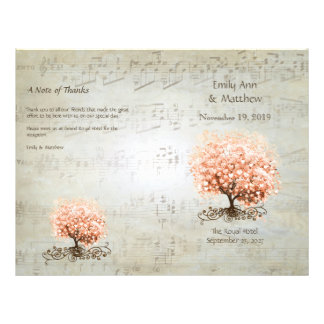 Coral Heart Leaf Tree Wedding Programs Flyers