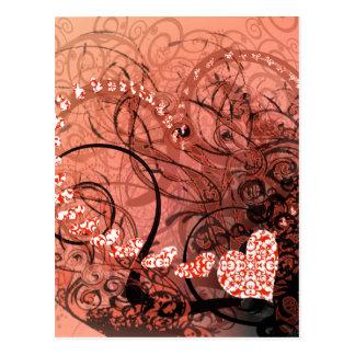 Coral Heart Swirls Postcard