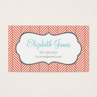 Coral Herringbone Business Card