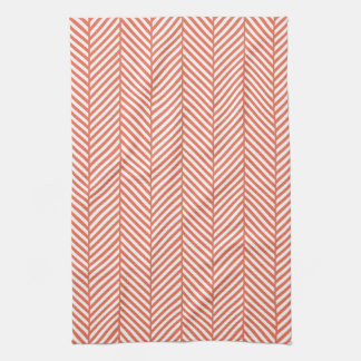 Coral Herringbone Kitchen Towel