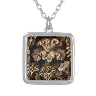 Coral Hexacoralla in Browns Silver Plated Necklace