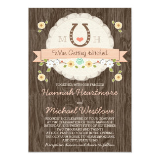 Coral Horseshoe Heart Western Wedding Card